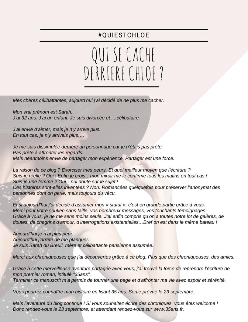 Chloé D's aka Sarah du Breuil. https://www.celibattantes.fr/
